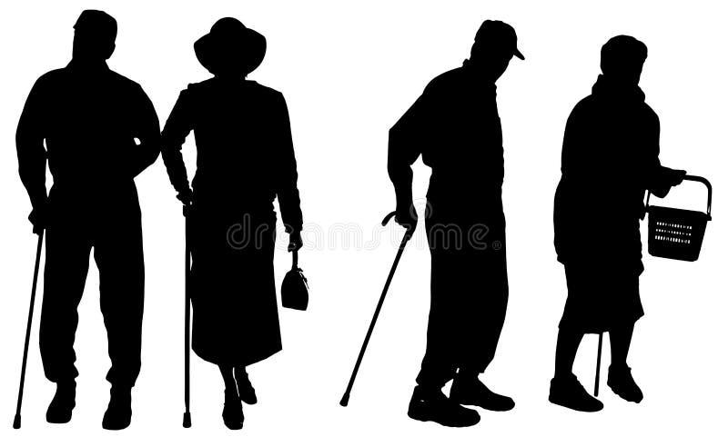 Διανυσματική σκιαγραφία του ηλικιωμένου ανθρώπου διανυσματική απεικόνιση