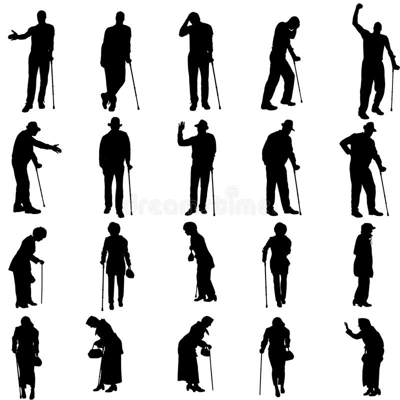 Διανυσματική σκιαγραφία του ηλικιωμένου ανθρώπου απεικόνιση αποθεμάτων