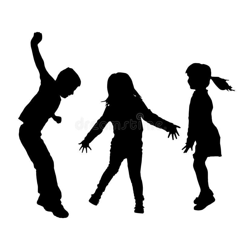 Διανυσματική σκιαγραφία των παιδιών απεικόνιση αποθεμάτων