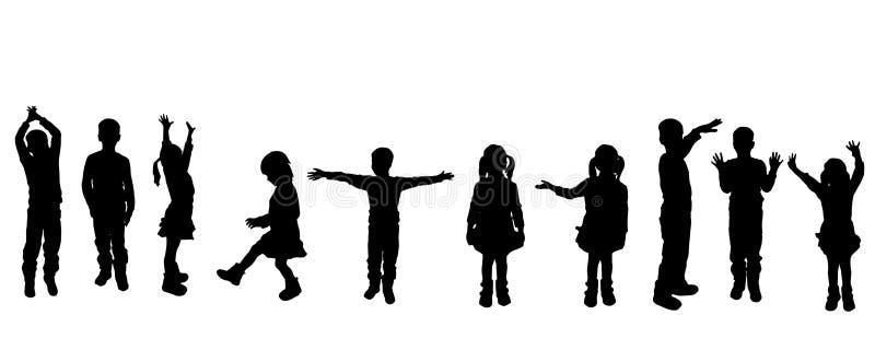 Διανυσματική σκιαγραφία των παιδιών ελεύθερη απεικόνιση δικαιώματος