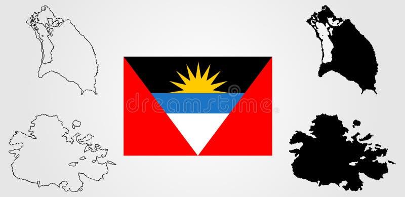 Διανυσματική σκιαγραφία χαρτών της Αντίγκουα και της Μπαρμπούντα και διανυσματική σημαία ελεύθερη απεικόνιση δικαιώματος