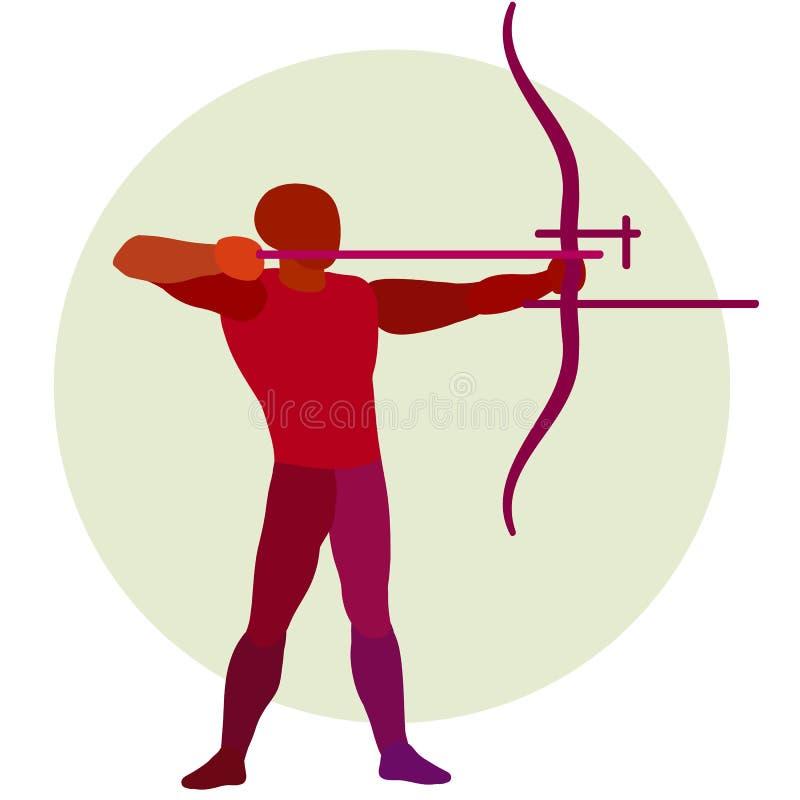 _ Διανυσματική σκιαγραφία bowman Λογότυπο τοξοβολίας ελεύθερη απεικόνιση δικαιώματος