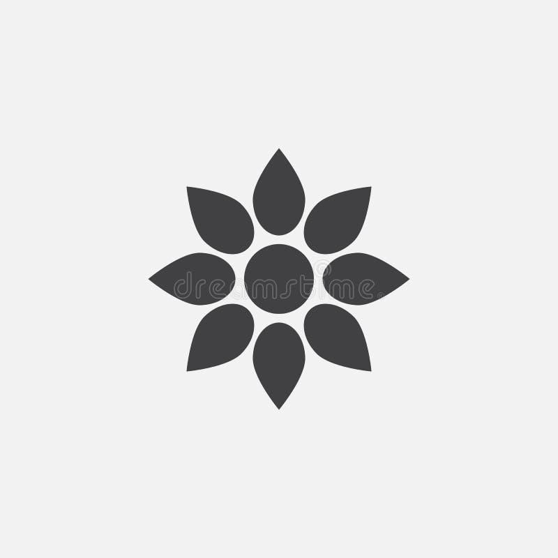 Διανυσματική, στερεά απεικόνιση λογότυπων εικονιδίων λουλουδιών ελεύθερη απεικόνιση δικαιώματος