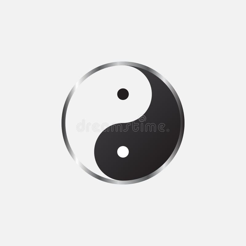 Διανυσματική, στερεά απεικόνιση λογότυπων εικονιδίων Yang Yin, εικονόγραμμα που απομονώνεται στο λευκό απεικόνιση αποθεμάτων