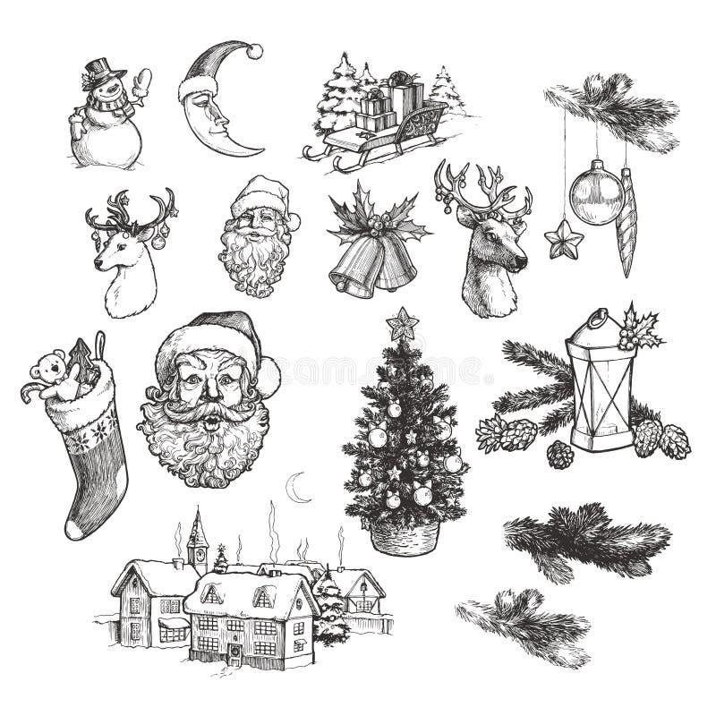 Διανυσματική συγκομιδή ζωγραφισμένη με το χέρι Πρωτοχρονιάτικες εικόνες απομονωμένες σε λευκό Χριστουγεννιάτικες ζωγραφιές με τον στοκ φωτογραφίες