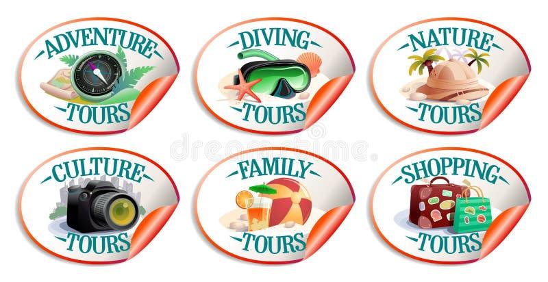 Διανυσματική συλλογή αυτοκόλλητων ετικεττών ταξιδιού - φύση turs, γύροι αγορών, γύροι περιπέτειας, κ.λπ. απεικόνιση αποθεμάτων