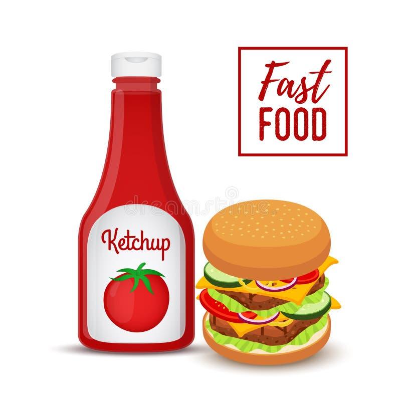 Διανυσματική συλλογή γρήγορου φαγητού - χάμπουργκερ και κέτσαπ διανυσματική απεικόνιση