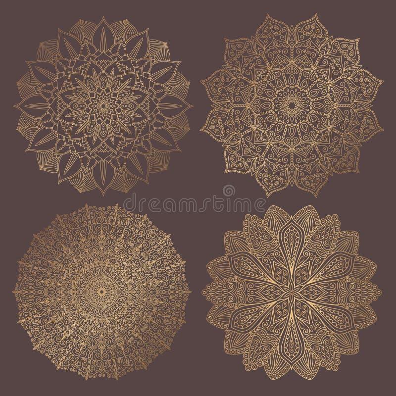 Διανυσματική συλλογή στοιχείων σχεδίου Mandala απεικόνιση αποθεμάτων