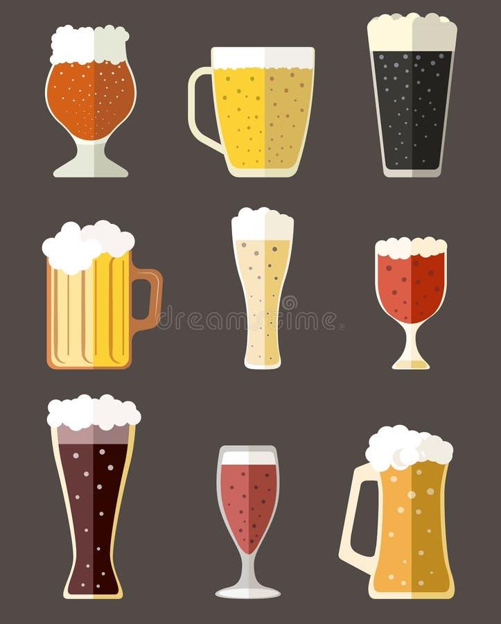 Διανυσματική συλλογή των εικονιδίων κουπών μπύρας απεικόνιση αποθεμάτων