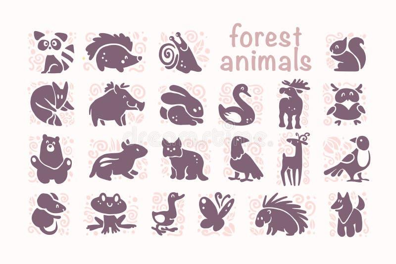 Διανυσματική συλλογή των επίπεδων χαριτωμένων ζωικών εικονιδίων που απομονώνονται στο άσπρο υπόβαθρο ελεύθερη απεικόνιση δικαιώματος