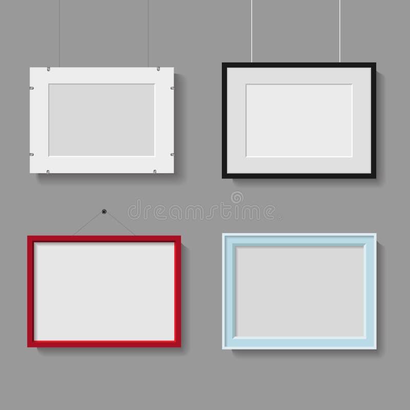 Διανυσματική συλλογή των πλαισίων φωτογραφιών ή εικόνων στο γκρίζο υπόβαθρο ελεύθερη απεικόνιση δικαιώματος