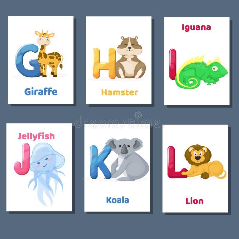 Διανυσματική συλλογή flashcards αλφάβητου εκτυπώσιμη με το γράμμα Γ Χ Ι J Κ Λ Ζώα ζωολογικών κήπων για την εκπαίδευση αγγλικής γλ απεικόνιση αποθεμάτων