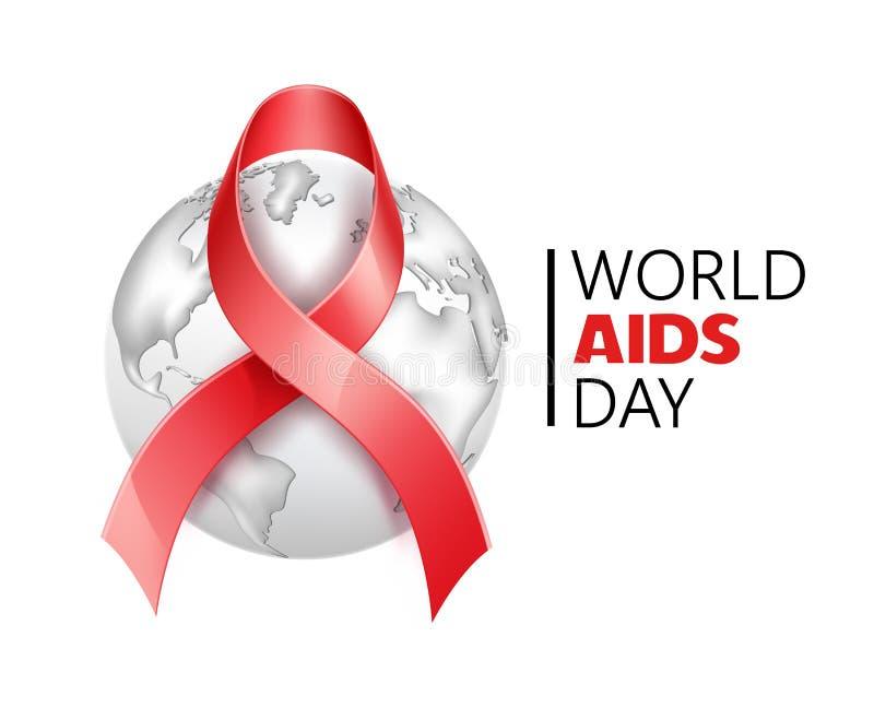 Διανυσματική συνειδητοποίηση Παγκόσμιας Ημέρας κατά του AIDS, πρόληψη HIV ελεύθερη απεικόνιση δικαιώματος