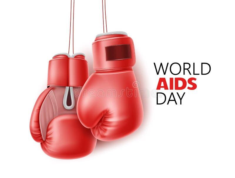 Διανυσματική συνειδητοποίηση Παγκόσμιας Ημέρας κατά του AIDS, πρόληψη HIV διανυσματική απεικόνιση