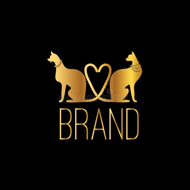Διανυσματική συρμένη χέρι απεικόνιση γατών Πρότυπο λογότυπων γατών για το εμπορικό σήμα μόδας ελεύθερη απεικόνιση δικαιώματος