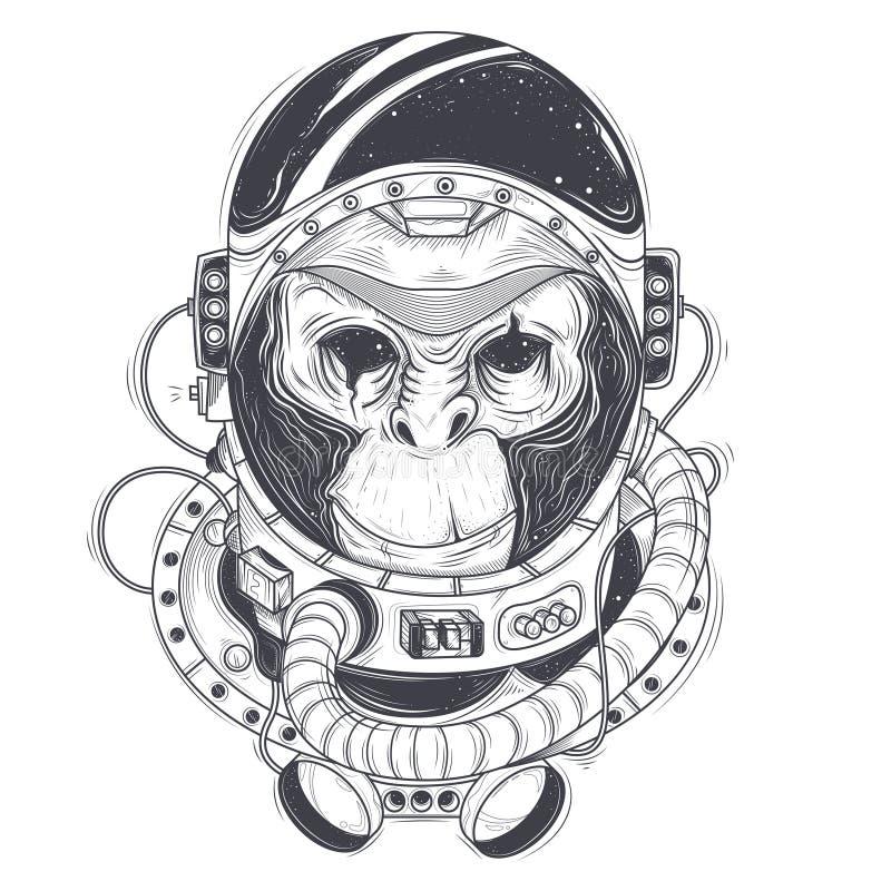 Διανυσματική συρμένη χέρι απεικόνιση ενός αστροναύτη πιθήκων, χιμπατζής σε ένα διαστημικό κοστούμι απεικόνιση αποθεμάτων