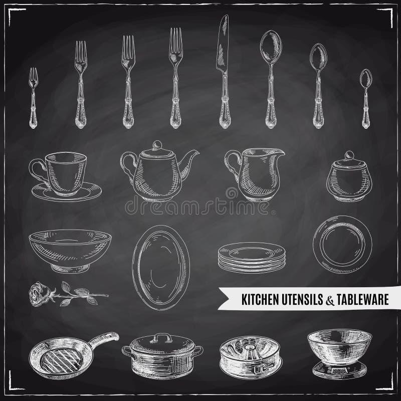 Διανυσματική συρμένη χέρι απεικόνιση με τα εργαλεία κουζινών απεικόνιση αποθεμάτων