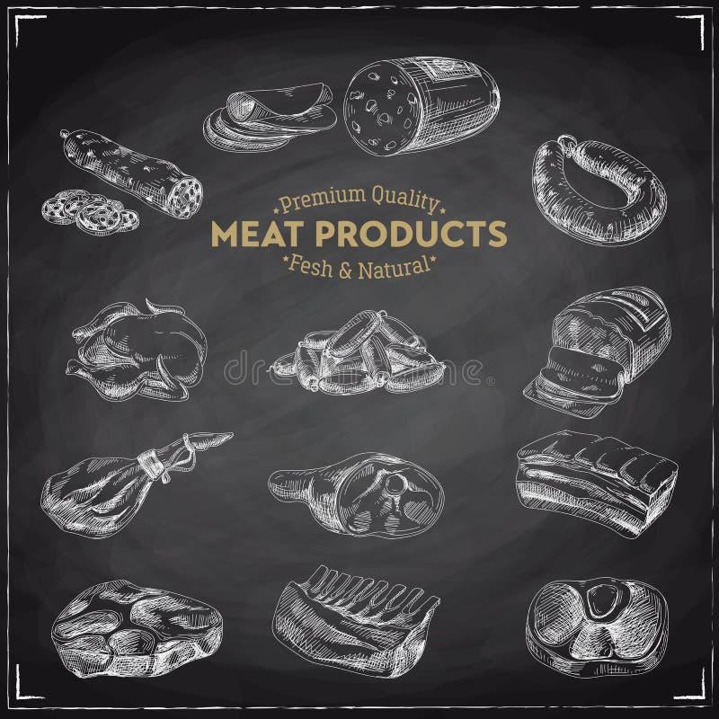 Διανυσματική συρμένη χέρι απεικόνιση με τα προϊόντα κρέατος ελεύθερη απεικόνιση δικαιώματος