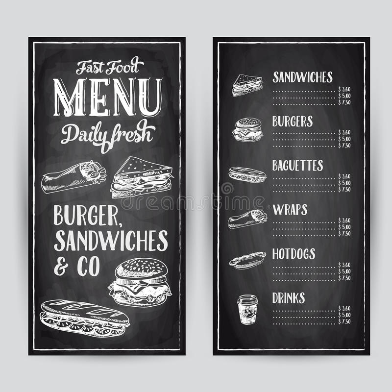 Διανυσματική συρμένη χέρι απεικόνιση με το γρήγορο φαγητό ελεύθερη απεικόνιση δικαιώματος