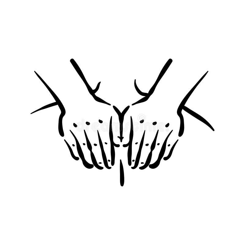 Διανυσματική συρμένη χέρι απεικόνιση της διαδικασίας μασάζ στο άσπρο υπόβαθρο ελεύθερη απεικόνιση δικαιώματος