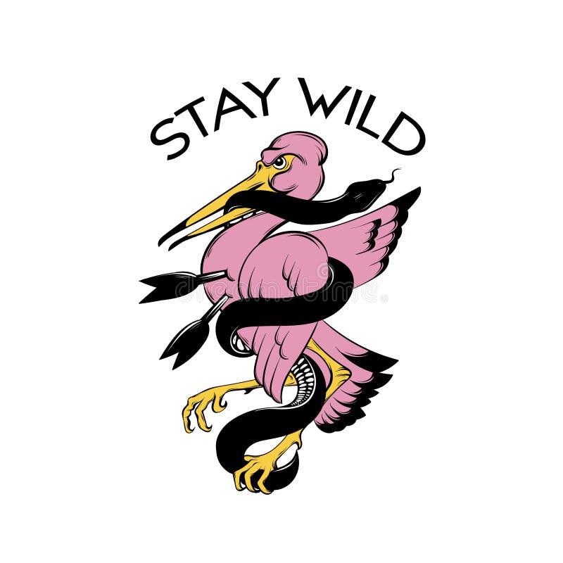Διανυσματική συρμένη χέρι απεικόνιση του δαγκώνοντας φιδιού πουλιών που απομονώνεται Δημιουργικό έργο τέχνης δερματοστιξιών διανυσματική απεικόνιση