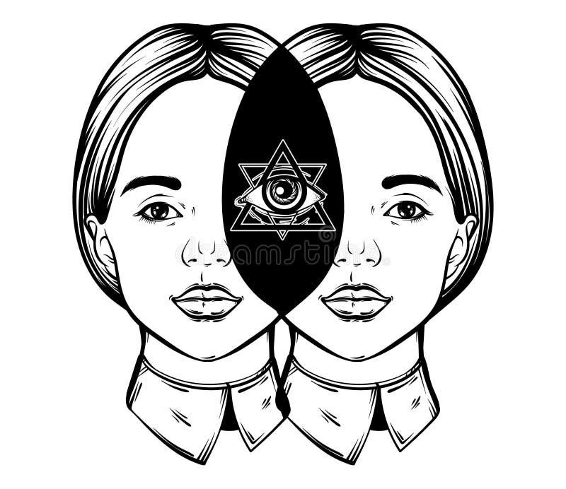 Διανυσματική συρμένη χέρι απεικόνιση των όμορφων κοριτσιών με όλα που βλέπουν το μάτι στο κεφάλι της διανυσματική απεικόνιση