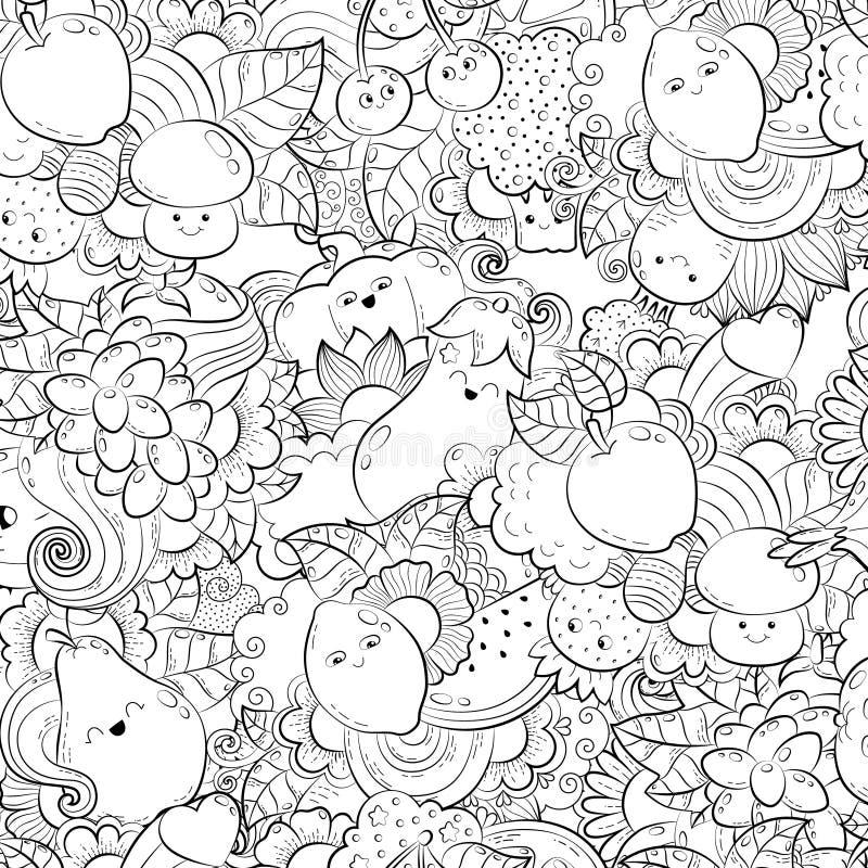 Διανυσματική συρμένη χέρι αστεία, ευτυχής απεικόνιση λαχανικών, φρούτων και μούρων για το ενήλικο χρωματίζοντας βιβλίο Ελεύθερο σ ελεύθερη απεικόνιση δικαιώματος