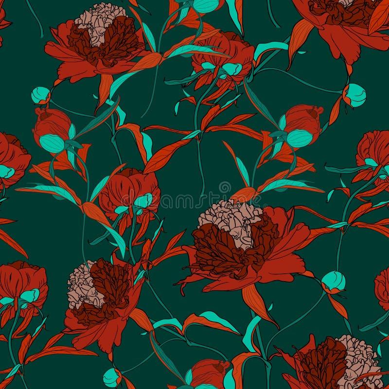 Διανυσματική συρμένη χέρι αφηρημένη απεικόνιση των κόκκινων peony λουλουδιών και του πράσινου άνευ ραφής σχεδίου φύλλων ελεύθερη απεικόνιση δικαιώματος