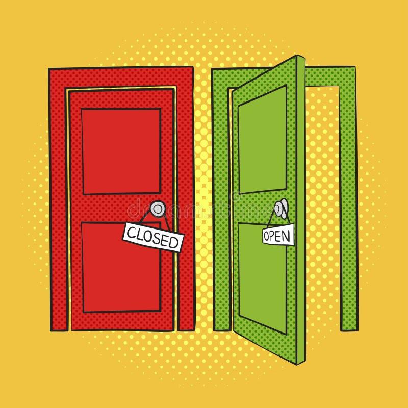 Διανυσματική συρμένη χέρι λαϊκή απεικόνιση τέχνης των πορτών κλειστός ανοικτός απεικόνιση αποθεμάτων
