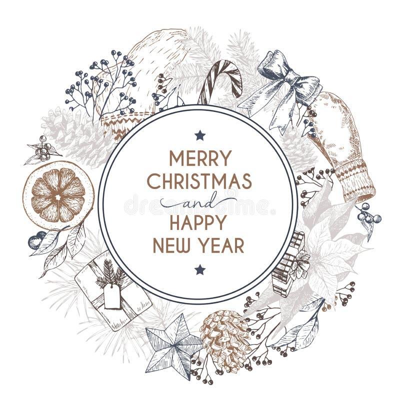 Διανυσματική συρμένη χέρι ευχετήρια κάρτα Χαρούμενα Χριστούγεννα και καλή χρονιά Χειμερινό καρύκευμα Χαραγμένη τρύγος τέχνη απεικόνιση αποθεμάτων