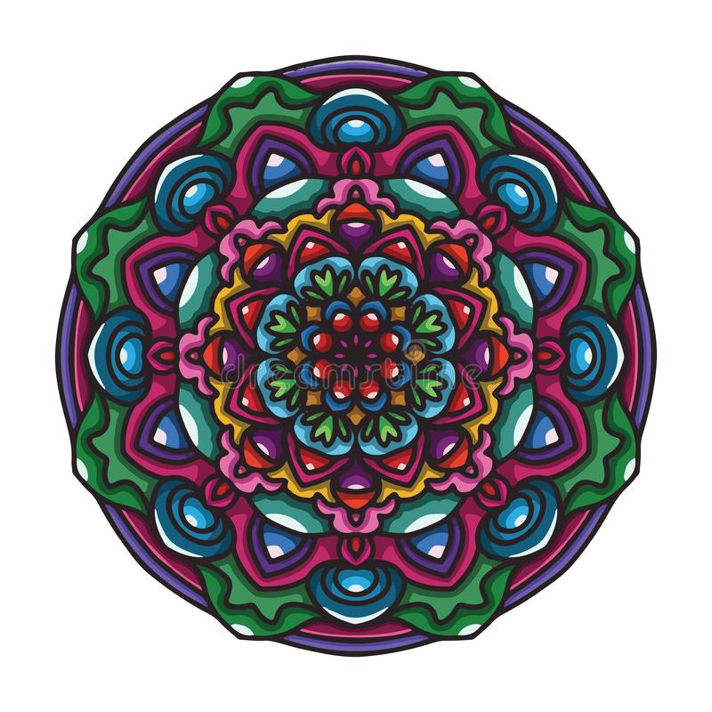 Διανυσματική συρμένη χέρι ζωηρόχρωμη τέχνη mandala με την αφηρημένη floral εθνική διακόσμηση r Απεικόνιση Mandala doodle ελεύθερη απεικόνιση δικαιώματος