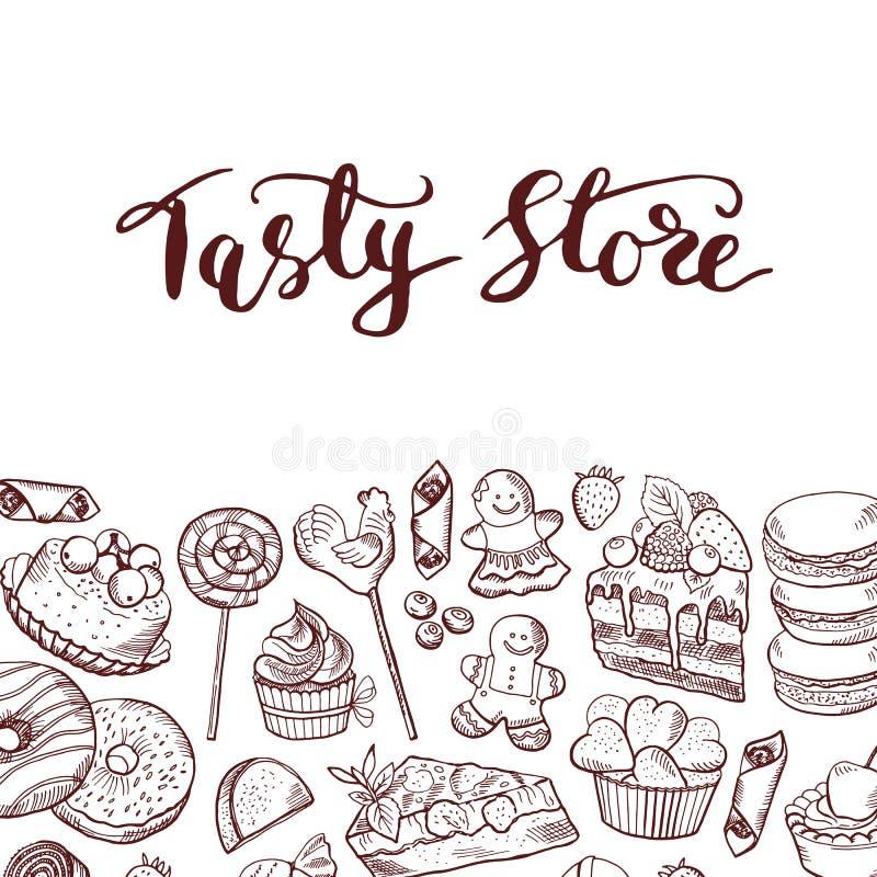 Διανυσματική συρμένη χέρι κατάστημα ή βιομηχανία ζαχαρωδών προϊόντων γλυκών διανυσματική απεικόνιση