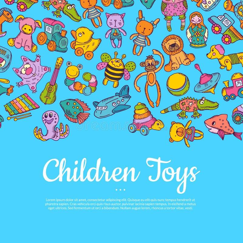 Διανυσματική συρμένη χέρι χρωματισμένη απεικόνιση παιδιών ή παιχνιδιών παιδιών διανυσματική απεικόνιση