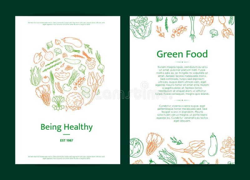 Διανυσματική συρμένη χέρι doodle κάρτα εικονιδίων λαχανικών ή απεικόνιση προτύπων φυλλάδιων ελεύθερη απεικόνιση δικαιώματος