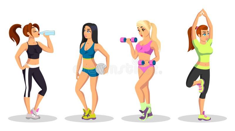 Διανυσματική συσκευή με κορίτσια να κάνουν ασκήσεις, να σηκώνουν βάρη,  απεικόνιση αποθεμάτων