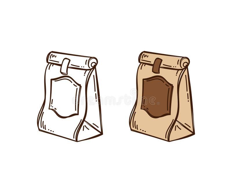Διανυσματική συσκευασία doodle του καφέ που απομονώνεται ελεύθερη απεικόνιση δικαιώματος