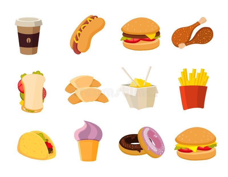 Διανυσματική συλλογή γρήγορου φαγητού κινούμενων σχεδίων διανυσματική απεικόνιση