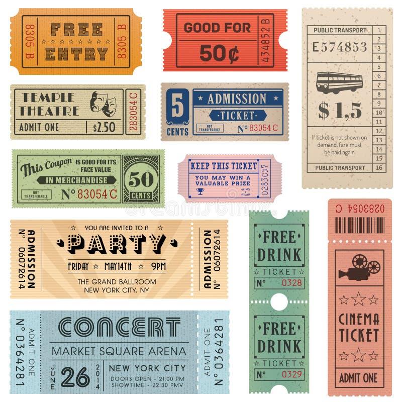 Διανυσματική συλλογή 2 εισιτηρίων Grunge διανυσματική απεικόνιση