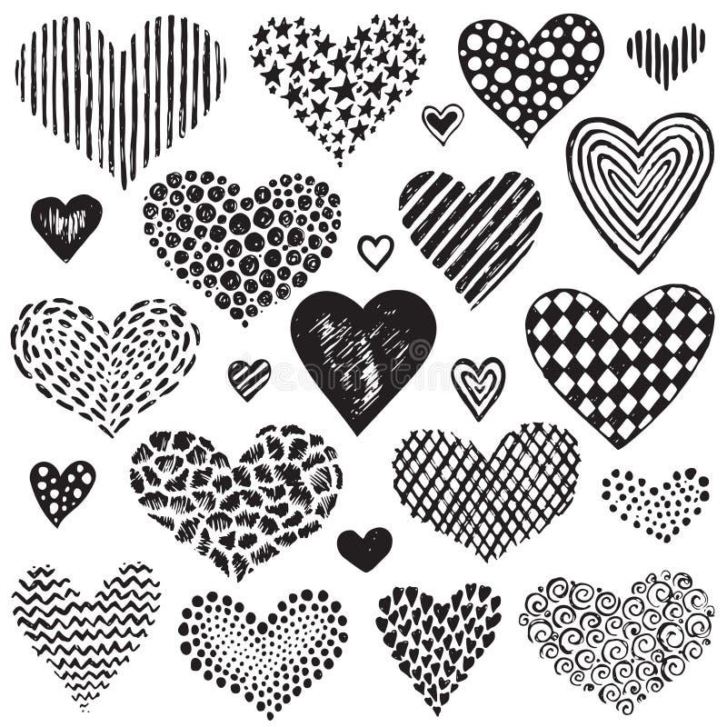 Διανυσματική συλλογή συρμένων των χέρι καρδιών σκίτσων διανυσματική απεικόνιση