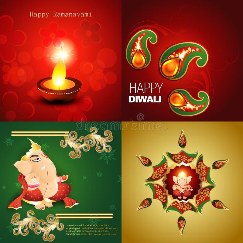 Διανυσματική συλλογή του ευτυχούς υποβάθρου diwali απεικόνιση αποθεμάτων