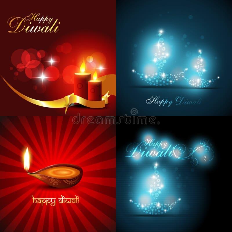 Διανυσματική συλλογή του όμορφου υποβάθρου του σχεδίου diwali απεικόνιση αποθεμάτων