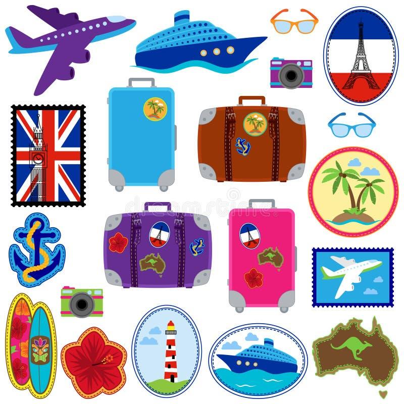Διανυσματική συλλογή των αυτοκόλλητων ετικεττών ταξιδιού, γραμματόσημα, διακριτικά ελεύθερη απεικόνιση δικαιώματος