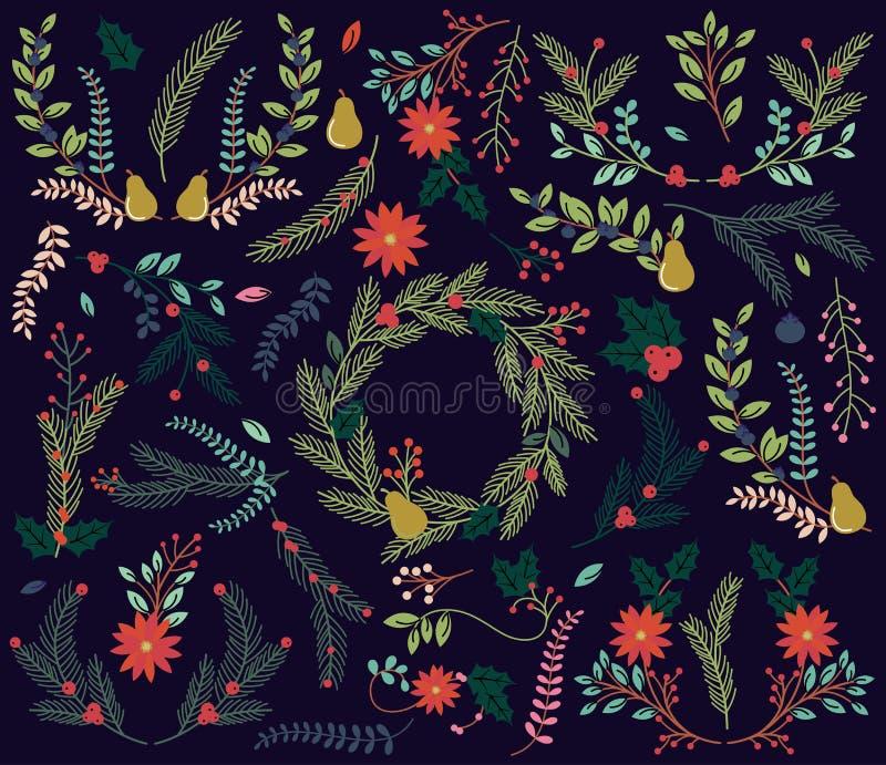 Διανυσματική συλλογή των εκλεκτής ποιότητας διακοπών Χριστουγέννων ύφους συρμένων χέρι floral απεικόνιση αποθεμάτων