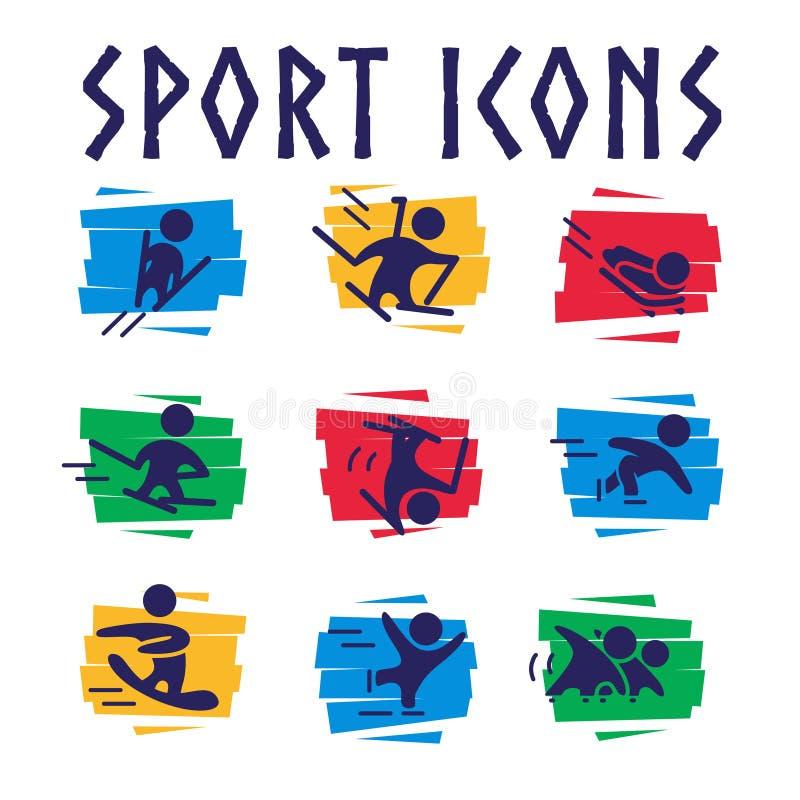 Διανυσματική συλλογή των επίπεδων αθλητικών εικονιδίων στα ζωηρόχρωμα γεωμετρικά υπόβαθρα απεικόνιση αποθεμάτων