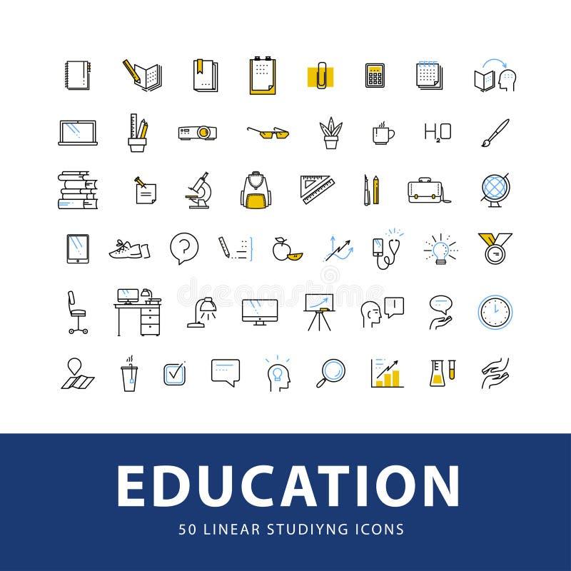 Διανυσματική συλλογή των επίπεδων απλών γραμμικών εικονιδίων εκπαίδευσης που απομονώνονται στο άσπρο υπόβαθρο απεικόνιση αποθεμάτων