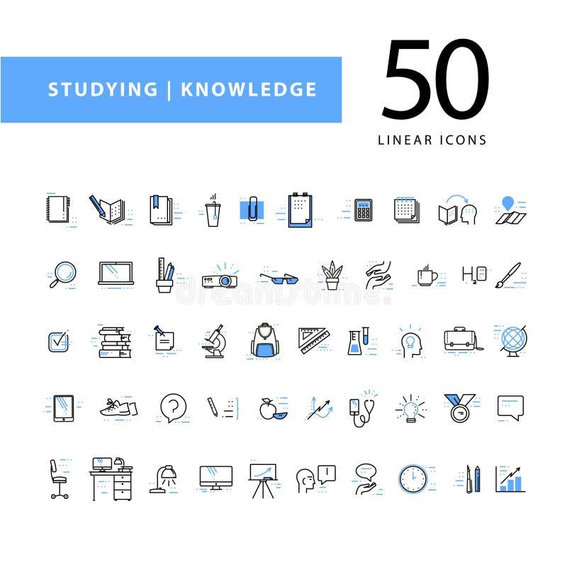 Διανυσματική συλλογή των επίπεδων απλών γραμμικών εικονιδίων εκπαίδευσης που απομονώνονται στο άσπρο υπόβαθρο διανυσματική απεικόνιση