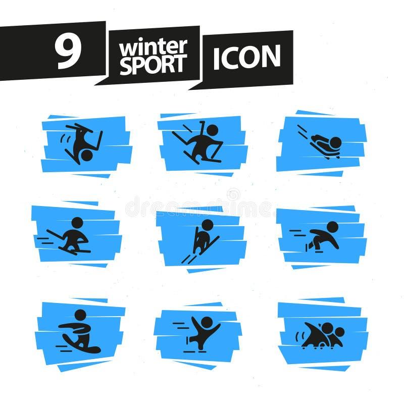 Διανυσματική συλλογή των επίπεδων απλών σκιαγραφιών αθλητών που απομονώνεται στο άσπρο υπόβαθρο Εικονίδια χειμερινού αθλητισμού διανυσματική απεικόνιση