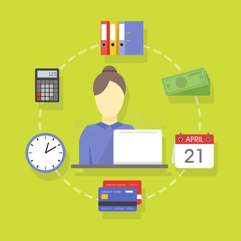 Διανυσματική συλλογή των επίπεδων και ζωηρόχρωμων εννοιών επιχειρήσεων και χρηματοδότησης που λογαριάζουν τα εικονίδια διανυσματική απεικόνιση