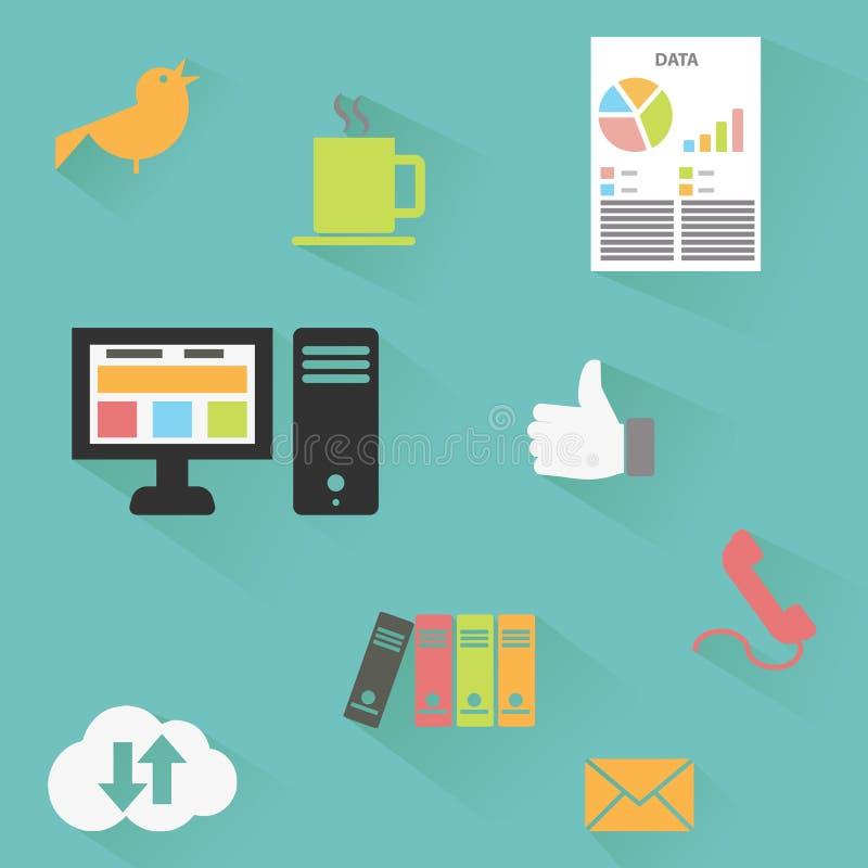 Διανυσματική συλλογή των ζωηρόχρωμων επίπεδων εικονιδίων επιχειρήσεων και χρηματοδότησης διανυσματική απεικόνιση