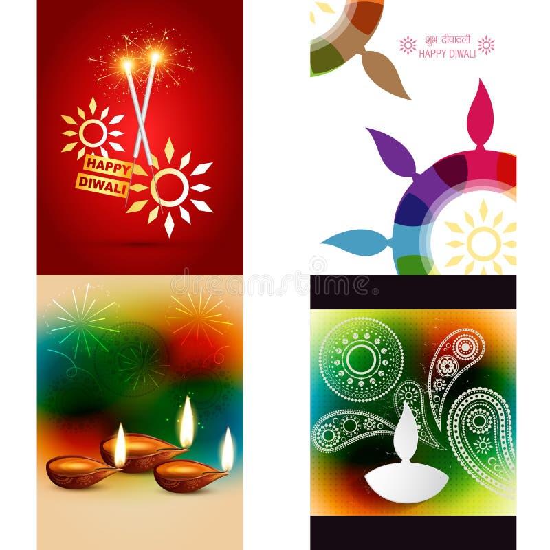 Διανυσματική συλλογή των διαφορετικών τύπων υποβάθρων diwali ελεύθερη απεικόνιση δικαιώματος